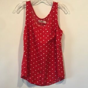 Red and White Polka Dot Tank Top Small